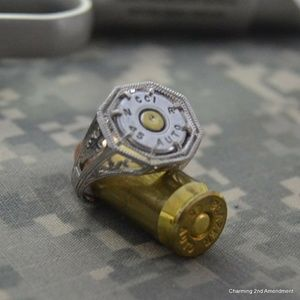Size 7 sterling silver 45 caliber bullet ring